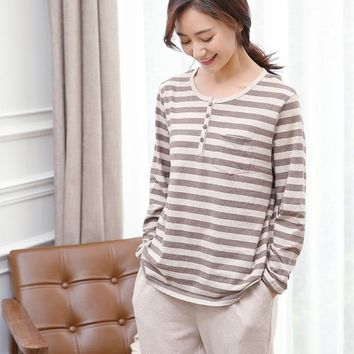 Spring summer 2017 Japanese female cotton long sleeve pajamas household to take Tianzhu cotton knitted cotton Japanese pajamas