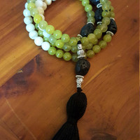 CALMING GROUNDING 108 Bead Mala 108 Mala Beads Prayer Beads Agate Green Jade Lava Bead Mala Necklace Black Tassel Necklace Yoga Jewelry
