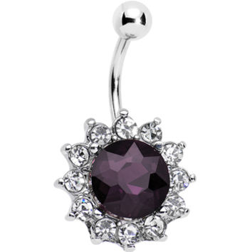 Clear Purple Gem Shimmering Sunflower Inspired Bottom Mount Belly Ring | Body Candy Body Jewelry
