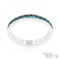 Stylish Stackables With Turquoise Crystal Ring (size: 05)