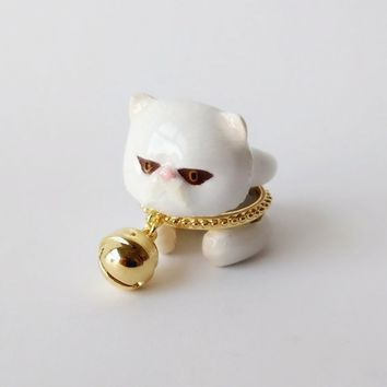 Mary Lou Enamel White Persian Cat with Bell Ring Set Free Shipping