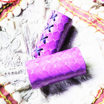 Hand Stitched Dreadlock Dread Bead Beads Wrap Real Authentic Snake Skin, Purple and Goat Leather Hair Accent Decoration