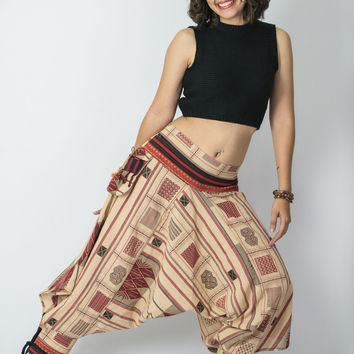 Thai Hill Tribe Fabric Women Harem Pants with Ankle Straps in Beige