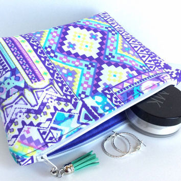Large Cosmetic Bag, Purple Makeup Bag, Purple Zipper Pouch, Large Makeup Bag, Large Art Bag