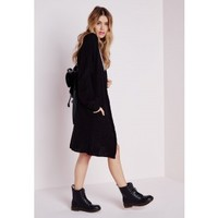 Longline Chunky Knit Cardigan Black - Knitwear - Missguided