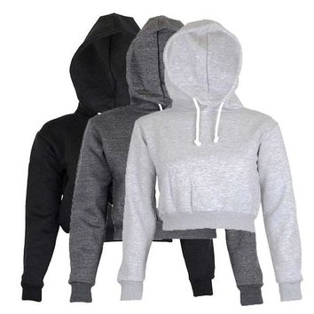 Hot Sale Fation Womens Short Hooded Hoodies Sweatshirts  Plain Crop Top Hoodie Hooded fullength Sleeves Sweatshirt Hangover