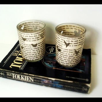 The Hobbit LOTR Book Page Votive Holders by AdorkableMe on Etsy
