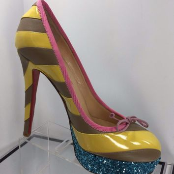 NEW Christian Louboutin Foraine Striped Glitter Platform Pumps (Size 37) - $995!