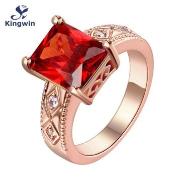 Synthetic red stone red princess cut cz solitaire rings for women 2017 new design 18ct Gold Vermeil fashion jewelry