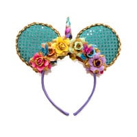 Unicorn Mouse Ears Headband, Unicorn Headband, Rainbow Headband, Flower Mouse Ears, Minnie Ears Headband, Mickey Ears Headband, Cruise Ears