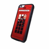 Red Vintage London British Phonebooth Iphone 6 (4.7-Inch) Black Flexible Soft TPU Case Slim Case for iPhone 6 (4.7)