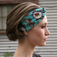 Steampunk Vintage Headband: Retro Turquoise Clock Print, Moth Faux Head Wrap for Adults, 100% Cotton Fabric