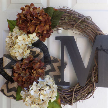 WREATH - Fall wreath -  Hydrangea  wreath -  Grapevine  wreath - personalized wreath -  Housewarming.rustic