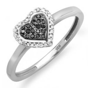 0.15 Carat (ctw) Sterling Silver Round Black and White Diamond Ladies Promise Heart Love Engagement Ring