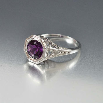 Amethyst Ring, Solitaire Unique Engagement Ring, Sterling Silver Filigree Gemstone Ring, Vintage Art Deco Style Jewelry, Wedding Jewelry