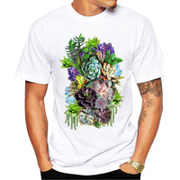 Succulent Gardens Men's Short Sleeve Casual White T-Shirt