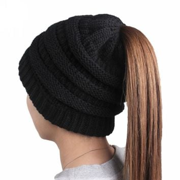 Slouchy Beanies Women Hat Soft Knit Ponytail Beanie Hats Casual Female Winter Warm Caps Solid Girls Skullies Knitted Woolen Cap