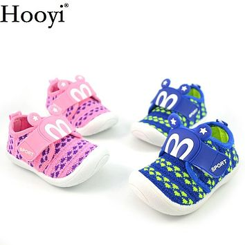 Hooyi Baby Boy Casual Sport Shoes Fashion Blue Pink Girls Sneakers Moccasin Breathable Children Shoe Toddler Noise Sound Shoe