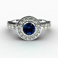 Blue sapphire ring, Halo, White gold ring, Sapphire engagement, Diamond, Bezel, Vintage style, Blue engagement, wedding ring