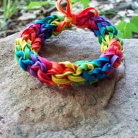 Large Rainbow Bangle Bracelet Made with Rubber Bands - Thick, One Size Fits All Stretch Bracelet