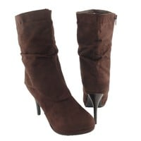 Womens' Ruched Mid Calf Faux Suede High Heel Winter Ankle Boots Brown