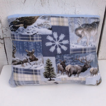 Fleece Quillow, elk, deer, wolf, geese quilt, magic pillow, lap quilt, fleece throw blanket,  fleece blanket