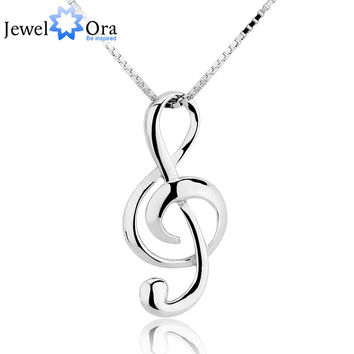 Musical Note Necklaces & Pendants Wedding Jewelry Elegant Women 925 Silver Necklace (JewelOra  NE100355)