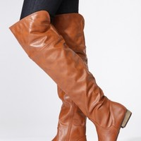 Bamboo Chestnut Faux Leather Above the Knee Riding Boots @ Cicihot Boots Catalog:women's winter boots,leather thigh high boots,black platform knee high boots,over the knee boots,Go Go boots,cowgirl boots,gladiator boots,womens dress boots,skirt boots.