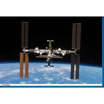 International Space Station Aviation poster Metal Sign Wall Art 8in x 12in