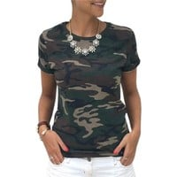 Summer Girls Casual T-Shirts New Arrivals Women T-Shirts Top Casual Slim Camouflage T Shirt Female Plus Size Women Tops