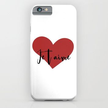 Je t'aime - Love Heart Valentines Day quote iPhone & iPod Case by deificus Art