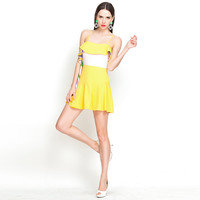 Yellow Color Block Spaghetti Strap Flounce Mini Skater