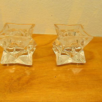 SET OF TWO VINTAGE CRYSTAL CANDLE HOLDERS STAR SHAPED