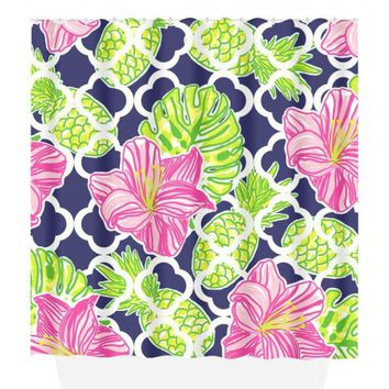 Pineapple Hibiscus SHOWER CURTAIN, Lilly Flower, Custom MONOGRAM Personalized, Girl Sister Bathroom Decor, Bath Towel, Plush Bath Mat