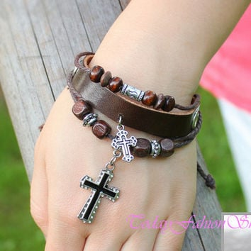 Jewelry, bracelet in handmade,bracelet in vintage,infinity bracelet,Christian cross model braided leather bracelet UW-1