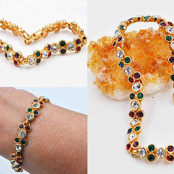 Vintage Swarovski Gold and Crystal Link Bracelet, Multicolor, Bezel Set, Swan Mark, Colorful, Sparkly, Bright & Beautiful! #c201