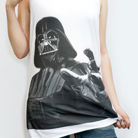 DARTH VADER Robot Star Wars Shirt Movie Shirt Tank Top Women T-Shirt Singlet Tank Top T-Shirt Vest Tunic Women Shirt White T-Shirt Size M