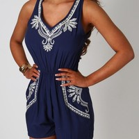 Kayla Navy Embroidered Playsuit