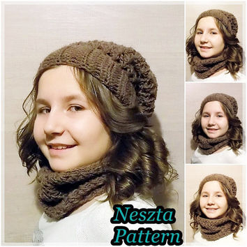 Crochet pattern, crochet slouchy hat pattern and infinity scarf pattern, crochet hat pattern, made from batik yarn, child, teen, adult sizes