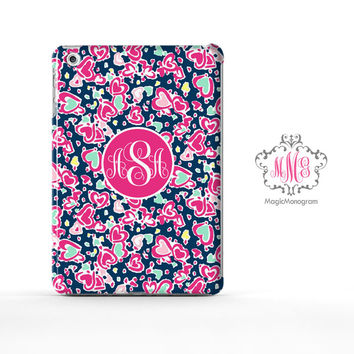 Hearts Love Pattern Lilly Pulitzer Monogram iPad Air Case, iPad Mini Case