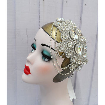 Sparkly wedding flapper great gatsby 20s 30s charleston birthday rhinestone bridal hair wedding ball party headpiece headband present gift