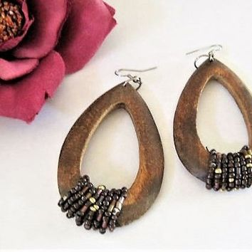 Wood Dangle Earrings, Wooden Hoops,  Beaded Boho Pierced, Ear Wires