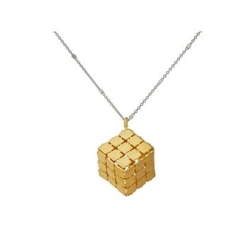 Gold Rubik's Cube Necklace