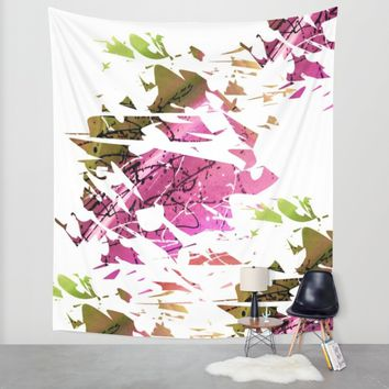 Abstract Acrylic Painting Broken Glass PURPLE AND GREEN Wall Tapestry by Saribelle Inspirational Art | Society6