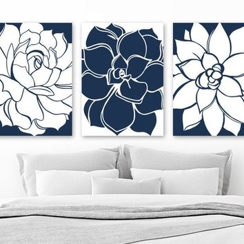 Flower WALL ART, CANVAS or Prints, Navy Blue Flower Bathroom Wall Decor, Navy Blue Flower Bedroom Decor, Floral Wall Decor Art, Set of 3 Art