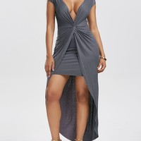 Twist Front Maxi Dress - Gray
