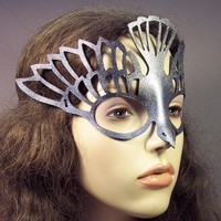 Bird mask in metallic silver leather by TomBanwell on Etsy