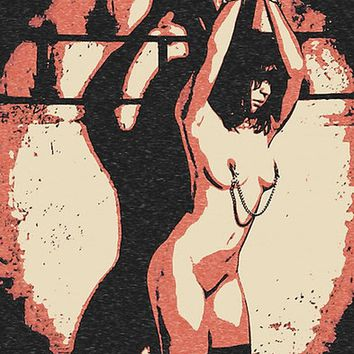 Erotic Art 200gsm poster - Depths of Master Dungeon, sexy chained submissive girl