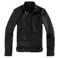 Partiss Mens Slim Fit Faux Leather Motorcycle Jacket