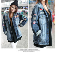 Aliexpress.com : Buy 2013 new Handsome casual jackets badge Korean style women denim jacket coats DXH403B 1125 58 from Reliable coat autumn suppliers on eFoxcity Wholesale